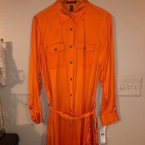 Silk Orange Ralph Lauren Shirt Dress